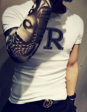 纹身衣服夏日男装体血衫社会小伙短袖t恤男紧身修身夜店精神半袖 白色