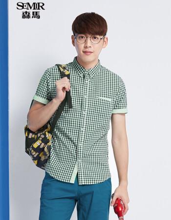 森马短袖衬衫 2016夏装新款 男士方领格子拼接男装衬衣韩版潮 蓝绿色图片