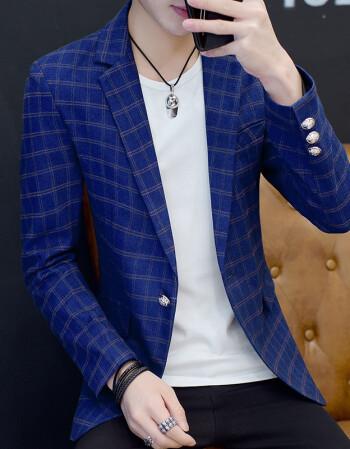 新款小西服外套男青少年薄款帅气单西韩版潮流发型师休闲格子西装图片