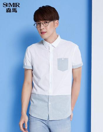 森马短袖衬衫 2016夏装新款 男士休闲衬衣拼色韩版潮款专柜款 本白