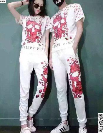 michael smith潮牌印花2016夏季新款玫瑰花瓣骷髅头烫钻t恤男女情侣图片