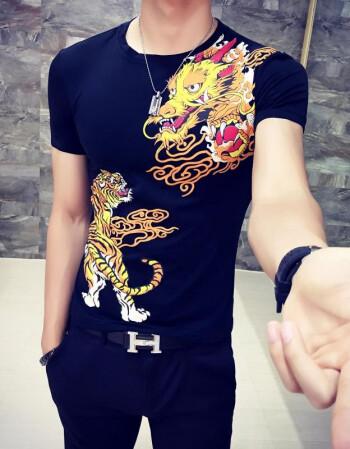 古莱登2016夏天中国风男装虎龙花式短袖t恤黑社会小青年纹身半袖衣服图片