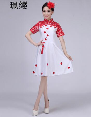 演出服大合唱服装女长裙成人青花瓷古典古筝礼服表演服装xbl 短款红色