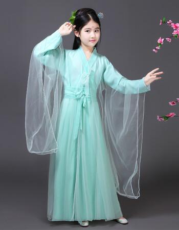儿童汉服古风服装古代公主贵妃衣服小女孩仙女轻纱白浅广袖流仙裙lwh