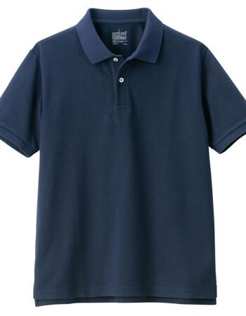 无印良品 MUJI 男式 新疆棉珠地网眼编织 短袖POLO衫 深海军蓝 XXL