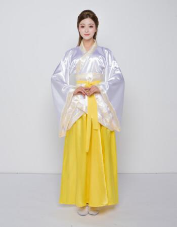 古装曲裾女服装仙女唐朝古代汉服演出服古典舞蹈襦裙贵妃 上衣黄裙子