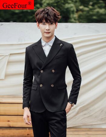 geefour春秋季新款男士韩版修身双排扣西服外套英伦百搭男西装基地