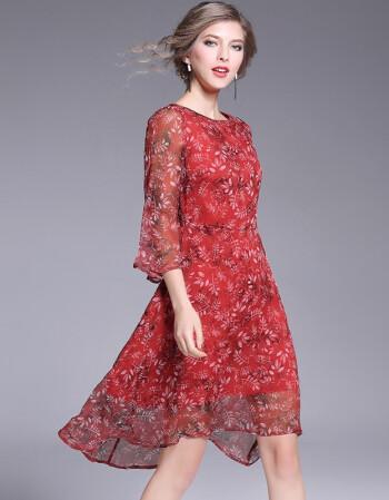 高档女装_eonshin真丝连衣裙高档女装2017春季新款不规则圆领荷叶边碎花裙 红色