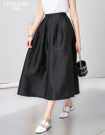 裙黑�_luxlead洛诗琳 新款复古风百搭蓬蓬过膝显瘦半身裙长裙 经典黑 m