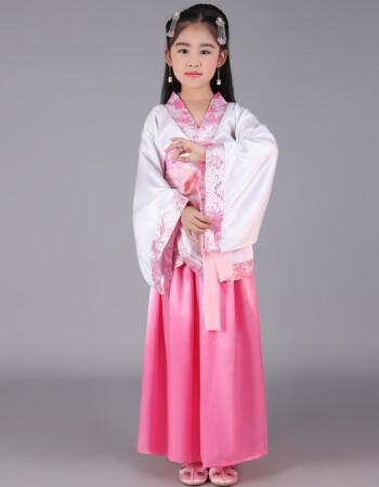 汉唐朝女古装仙女儿童乐器古筝舞蹈唐装女表演出服装 上衣粉边裙子粉