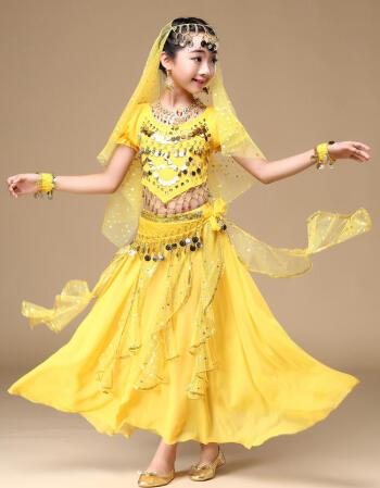 2017六一舞蹈衣服儿童女孩新疆舞蹈演出服装幼儿肚皮舞表演服 红色四