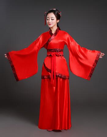 女仙女唐朝古代汉服演出服古典舞蹈公主贵妃女装 红色汉服女 加大