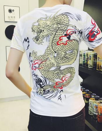 纹身衣服男夏社会紧身印花t恤 情侣3d刺青关公关羽半袖花臂龙潮男