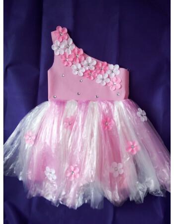 新款儿童环保服手工制作时装秀演出服幼儿园服装女子走秀裙 粉色单肩