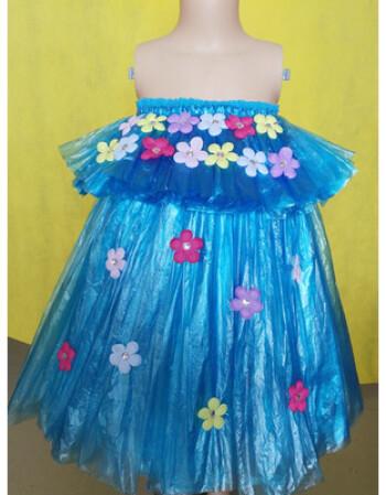 元旦儿童环保服塑料袋时秀幼儿园走秀手工制作演出服衣服 荧光黄 蓝色