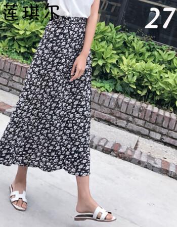 莲琪尔 2017夏一片式系带半身裙裹裙高腰雪纺碎花裙中