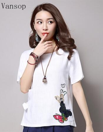 女生现在流行的衣服_vansop2017新款女装 短发女生适合衣服韩版搭配气质少女心t恤 白色 m