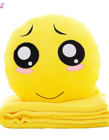 创意qq表情公仔卡通抱枕被子两用午睡三合一毯子emoji图片
