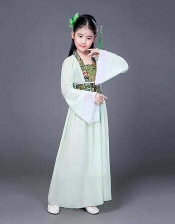 儿童古装小七仙女公主裙古筝表演服古代唐装汉服贵妃服小女孩古装s