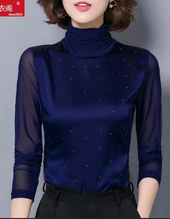 仹�n[�ny���_仟仹衣阁 新款韩版显瘦女装高领打底衫x3466 蓝色 l