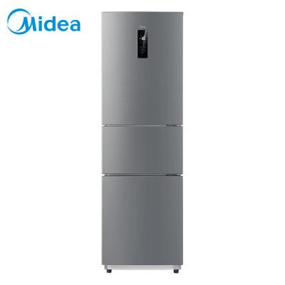 美的(Midea)258升 三门冰箱 抗菌保鲜 风冷无霜 电脑控温 中门24档调温 炫彩钢 BCD-258WTM(E)
