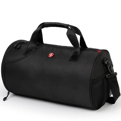 SWISSGEAR旅行包休闲运动健身包单肩包鞋位行李袋手提圆通训练包SA-9956黑色