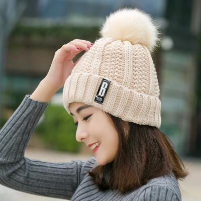 法际帽子女冬天潮韩国秋冬季帽子女士百搭毛线帽加绒针织帽韩版护耳帽 米色