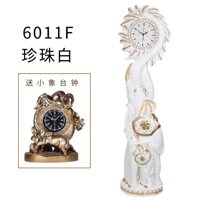 欧式落地钟美式客厅现代大象立钟别墅装饰摆件复古大座钟钟表 6011F白送台钟 14英寸