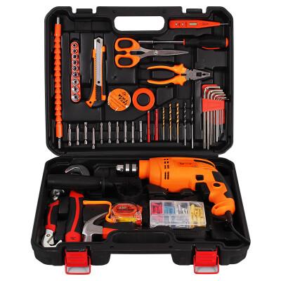 工蜂(WORKERBEE)GI550RE Lux 高品质冲击钻套装 电动手动工具箱组套 家用手电钻多功能小电锤 113件套
