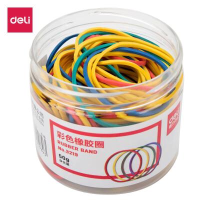 得力(deli)3219彩色弹力便于分类橡胶圈/橡皮筋/乳胶圈 50g/筒