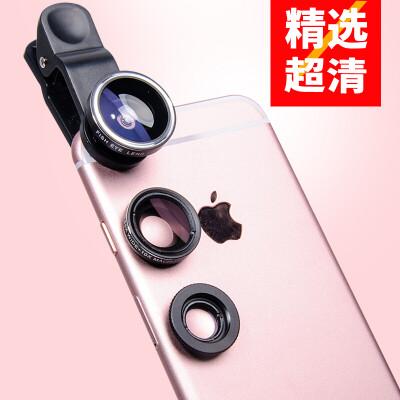 BGQ 手机镜头广角微距鱼眼三合一套装单反抖音神器拍照相外置摄像苹果华为小米通用 纯黑色【广角+鱼眼+微距】