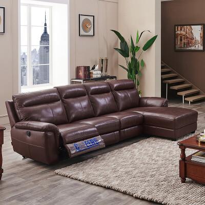 芝华仕(CHEERS)头等舱 功能沙发真皮美式沙发组合大户型沙发5103 咖啡色 四人位面向沙发右角位 15-60天发货
