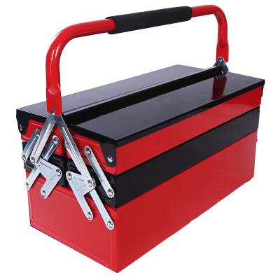 威克(vico)WK990014 三层金属工具箱 不锈钢家用工具箱 车载收纳箱 电工维修零件盒 精品