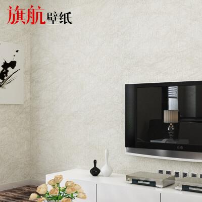 旗航壁纸 蚕丝壁纸环保无纺布素色9色可选现代墙纸卧室客厅电视背景 001白色 0.53米*10米