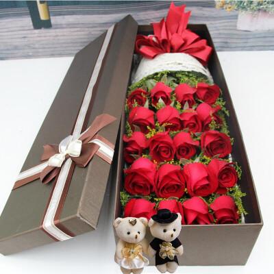 初卉情人节520鲜花速递红玫瑰花礼盒同城送花蓝色妖姬礼盒生日送女友北京上海全国花店送花 A款-19朵红玫瑰礼盒送小熊 鲜花
