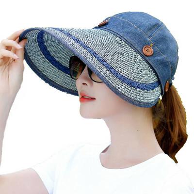 艾莱客 遮阳帽女夏天可折叠太阳帽户外骑车沙滩防晒帽子大檐防紫外线草帽 牛仔蓝
