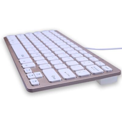 B.O.W HW098A 静音超薄USB有线键盘 办公游戏有线小键盘 巧克力按键外接键盘 有线键盘-金色