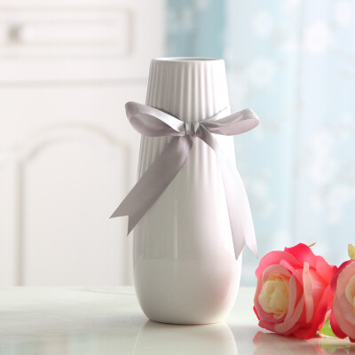 爱泽宝 简约现代花瓶摆件玫瑰陶瓷花瓶客厅餐桌茶几装饰品工艺品干花花器 新房家居摆设 直筒白色(送丝带)