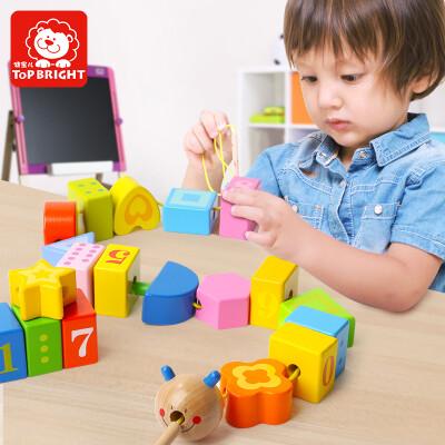 特宝儿(topbright)毛毛虫数学认知儿童玩具婴儿启蒙串珠男孩女孩拼插宝宝积木玩具