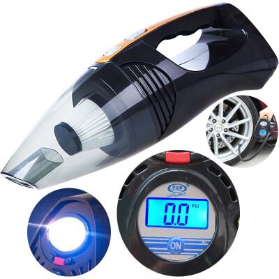 车志酷 四合一多功能车载吸尘器带充气泵干湿两用车家两用12v大功率迷你便捷式汽车车用吸尘器 多功能四合一(数显)黑色