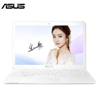 华硕(ASUS) 笔记本电脑超薄14英寸R417学生手提家用办公上网轻薄超级本 N3450/4G/512固态 白色