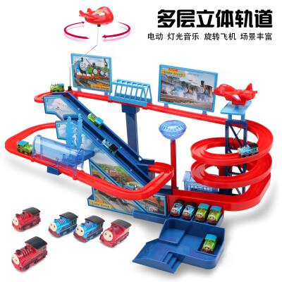 RONG LONG 托马斯小火车音乐轨道套装电动灯光多层爬楼梯轨道车拼装儿童玩具 托马斯轨道乐园(音乐+灯光)