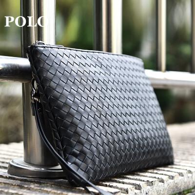 POLO 男士手包头层牛皮简约手拿包大容量手抓包信封包031051 黑色