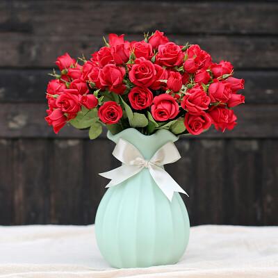 梓晨 仿真花假花娟花干花陶瓷花瓶客厅餐桌摆件装饰玫瑰花艺 绿色花瓶+5束红色花