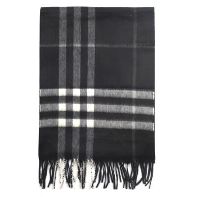 BURBERRY 巴宝莉 男女通用款黑色格纹羊绒围巾 40305001