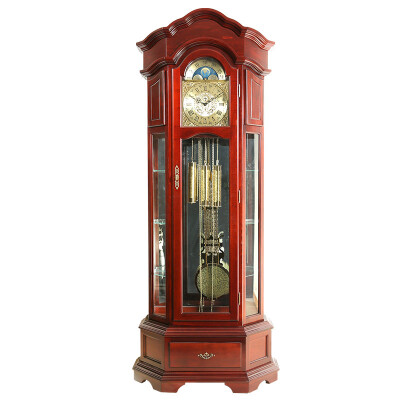 汉时(Hense) 实木落地钟复古椴木德国赫姆勒机械座钟HG108 椴木德国八音
