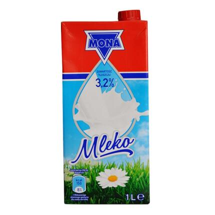 波兰进口 莫娜 MONA 全脂纯牛奶1L*12盒