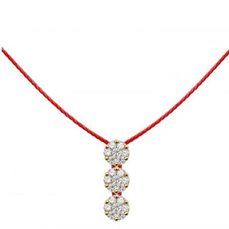 尚品城 奢侈品全球购redline项链 女士新款18k白金三钻石吊坠红线项链