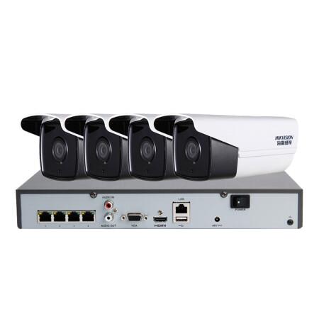海康威视500万星光级监控设备套装30米红外夜视海康威视硬盘录像机带POE供电4路带1TB硬盘