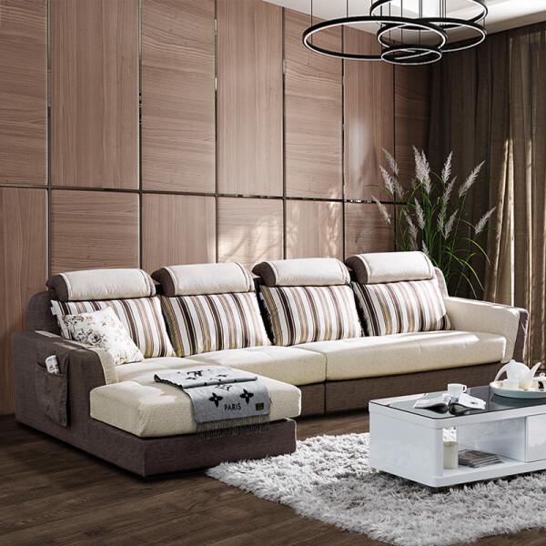 双虎(SUNHOO)布艺沙发小户型可拆洗沙发客厅家具组合套装073 073A(1+3+妃) 右妃